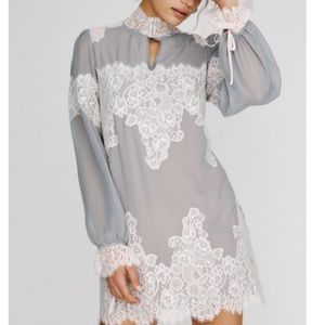 Free People HAH Queen Lace Mini Slip Gray Dress